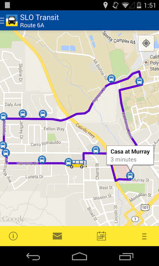 SLO Bus Tracker - screenshot