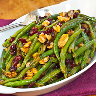 Roasted Green Beans with Cranberries and Walnuts.