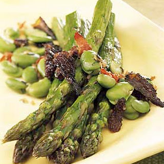 Roasted Asparagus with Fresh Favas and Morels.