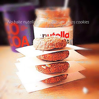 No bake Nutella and white chocolate chips cookies.