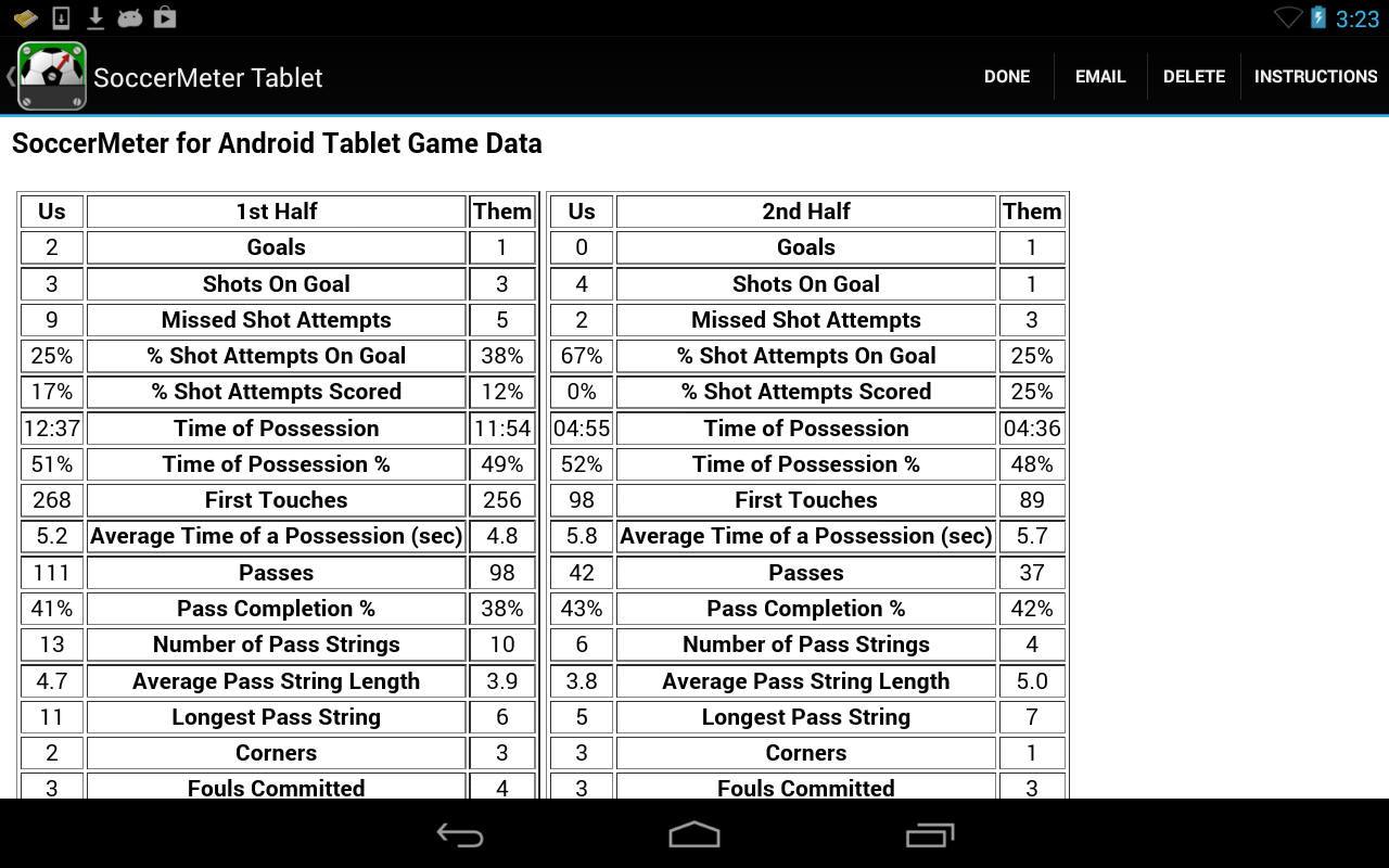 SoccerMeter Tablet- screenshot