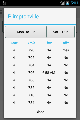 Boston Train Schedule- screenshot