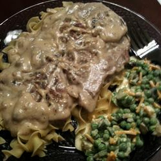 Pork Chops with Sour Cream and Mushroom Sauce.