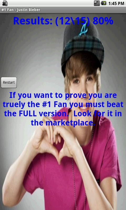 #1 Fan - Justin Bieber - LITE - screenshot
