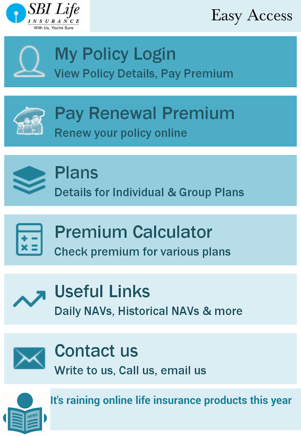 SBI Life Easy Access - Android Apps on Google Play