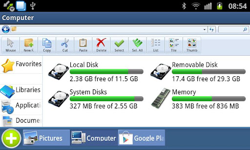 Se trata de un explorador de archivos o administrador de archivos, diseñado para sentirse similar al Conocido Mi Computadora de  Windows 7 y Mi PC en Windows XP. Tiene una opción Abrir con para todos los archivos, que funciona de forma similar con la opción OpenWith de Windows.           Con la Aplicacion puedes Compartir archivos en red incluye un cliente SMB (Samba) para Windows comparte archivos en LAN, un cliente FTP para las conexiones a Internet y un cliente SSH