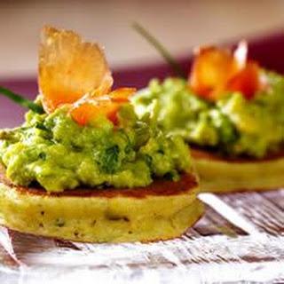 Mini Corncakes with Basil, Avocado Spread and Smoked Salmon.