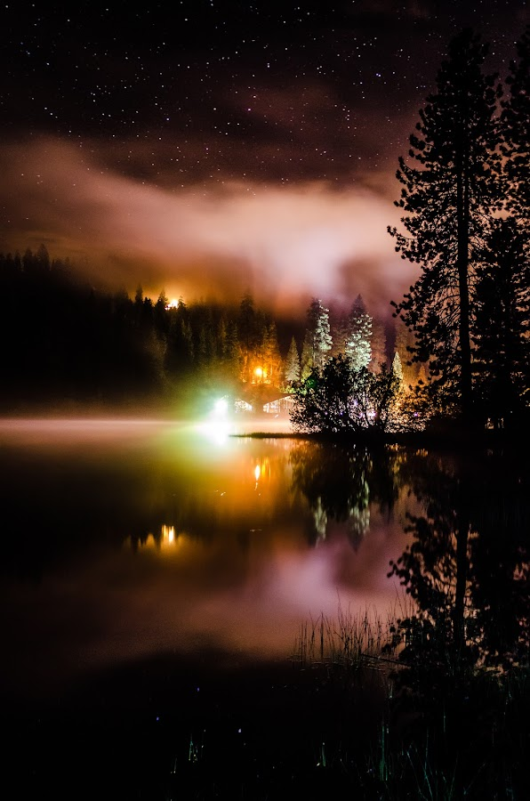 Misty Lodge by Daniel Jansen - Landscapes Starscapes ( hume lake, hume, mountains, night photography, starry night, night, lake )