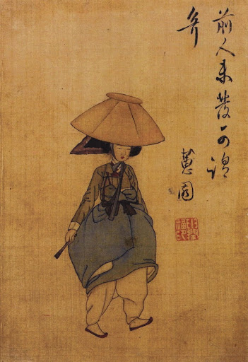 Woman Wearing Jeonmo (a conical hat)