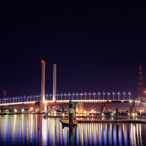 The Bolte by Ewan Arnolda - Buildings & Architecture Bridges & Suspended Structures ( abstract, lights, water, reflection, melbourne, australia, star, night, long exposure, bridge )