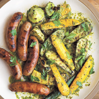 Grilled Squash and Sausages with Sauce Verte.