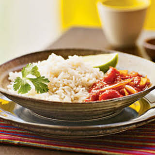 Coconut Rice with Spicy Tomato Sauce (Nasi Lemak with Sambal Tomat).