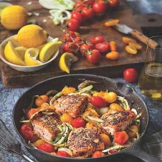 Mediterranean Pan-Roasted Salmon.