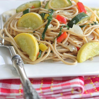 Vegetable Party Spaghetti with Warm Garlic Thyme Olive Oil.