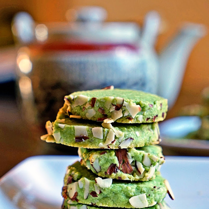 Macha Green Tea Almond Shortbread Cookies Recipe