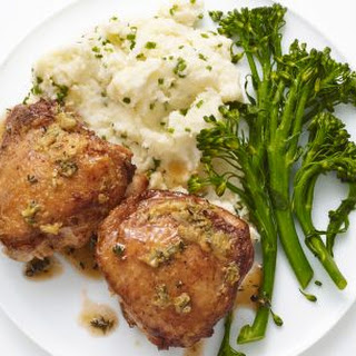 Lemon-Mustard Chicken with Chive Mashed Potatoes.