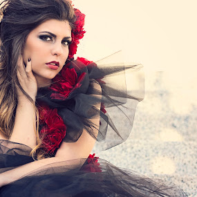 Fashion Red by Shirley Cohen - People Portraits of Women ( glamour, red, tulle, brunette, women, flower )