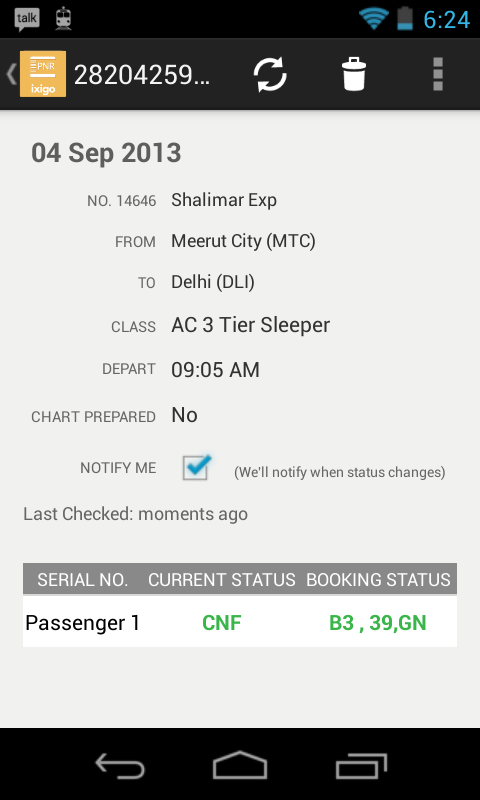 PNR Status Rail Train Flight - screenshot
