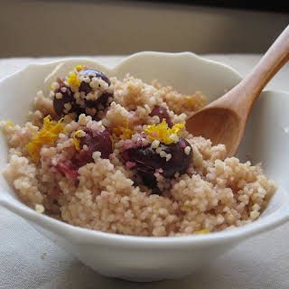 Orange-Infused Whole Wheat Breakfast Couscous with Cherries.