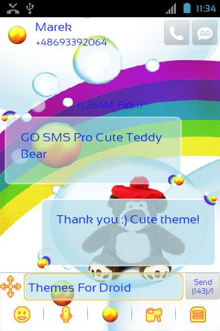 Cute Teddy Bear for GO SMS Pro- screenshot