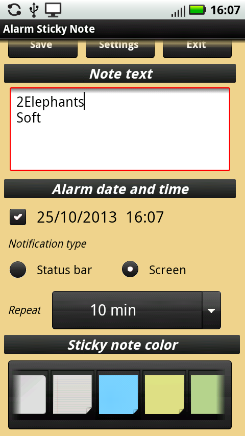 Alarm Sticky Note (reminder) - screenshot