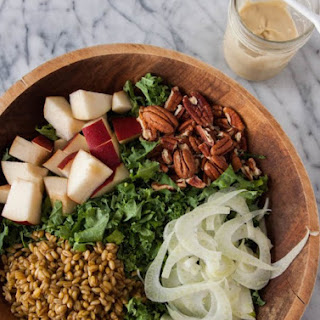 Shredded Kale and Pear Salad with Maple Tahini Dressing {Vegan}