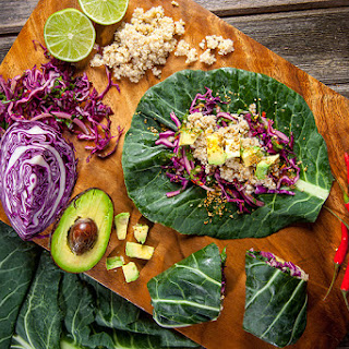 Collard Green Quinoa Wraps with Chili Seed Mix