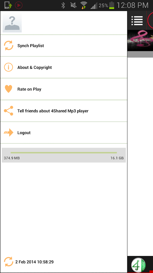 4Shared Mp3 Player - screenshot