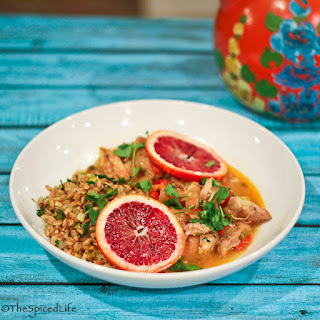 Chicken Thighs Braised in Blood Oranges with Sherry and Meyer Lemon