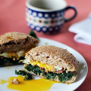 Kale, Bacon and Egg Sandwich.