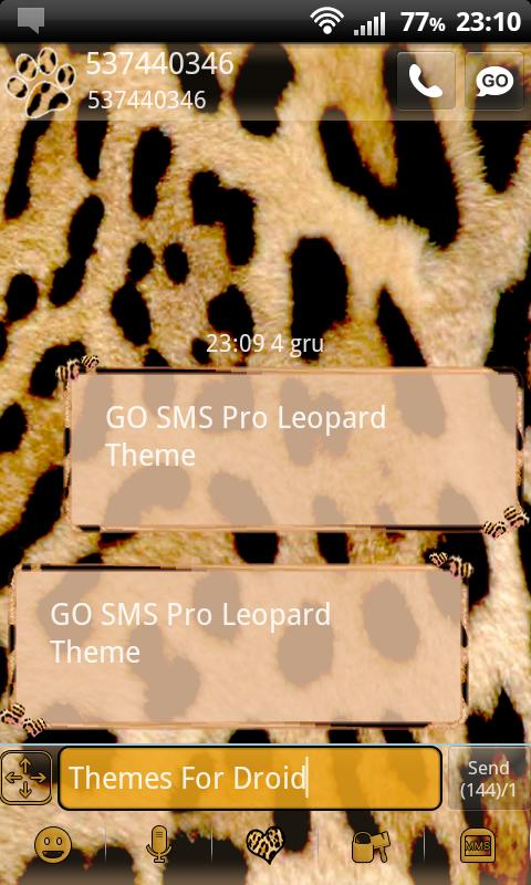 GO SMS Pro Leopard Theme - screenshot