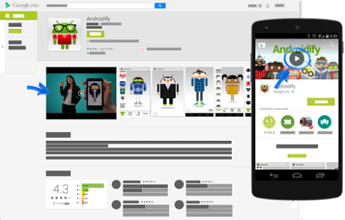 Graphic assets screenshots video play console help google play web store playgoogle if youre using the play store app a play button overlays the feature graphic at the top of a store listing reheart Images