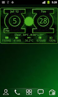 Green Lantern Weather Clock - screenshot thumbnail