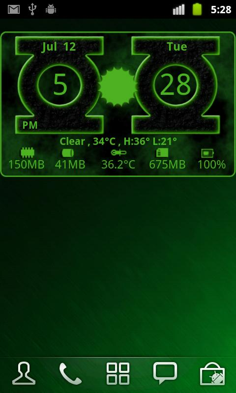 Green Lantern Weather Clock - screenshot
