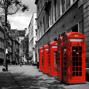 London Street by Shona McQuilken - City,  Street & Park  Street Scenes ( red, london, telephone box, black and white, , selective color, pwc )