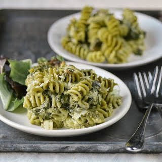 Double Spinach Pasta Casserole with Pesto & Asiago Cheese.