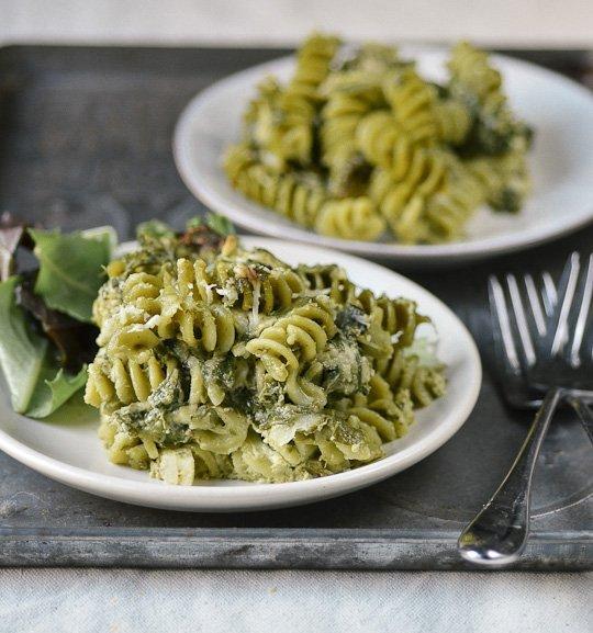 Double Spinach Pasta Casserole with Pesto & Asiago Cheese Recipe
