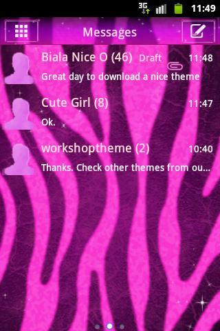短信的主題粉紅色的斑馬 GO SMS Pro Theme