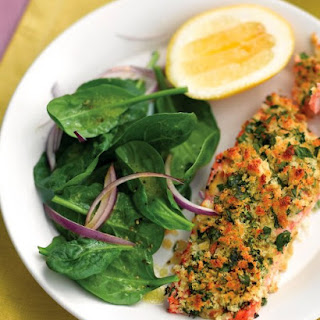 Herb-Crusted Salmon with Spinach Salad.