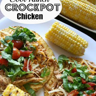 Cool Ranch Crockpot Chicken Tacos or Tostadas