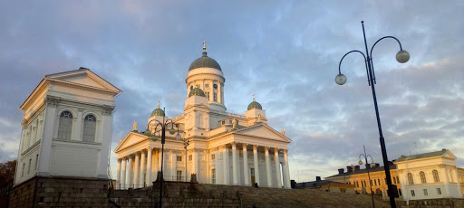 Helsinki Cathedral, located in the center of Helsinki, Finland. The church was originally built from 1830-1852 as a tribute to Tsar Nicholas I of Russia, the Grand Duke of Finland, before Finland achieved independence in 1917.