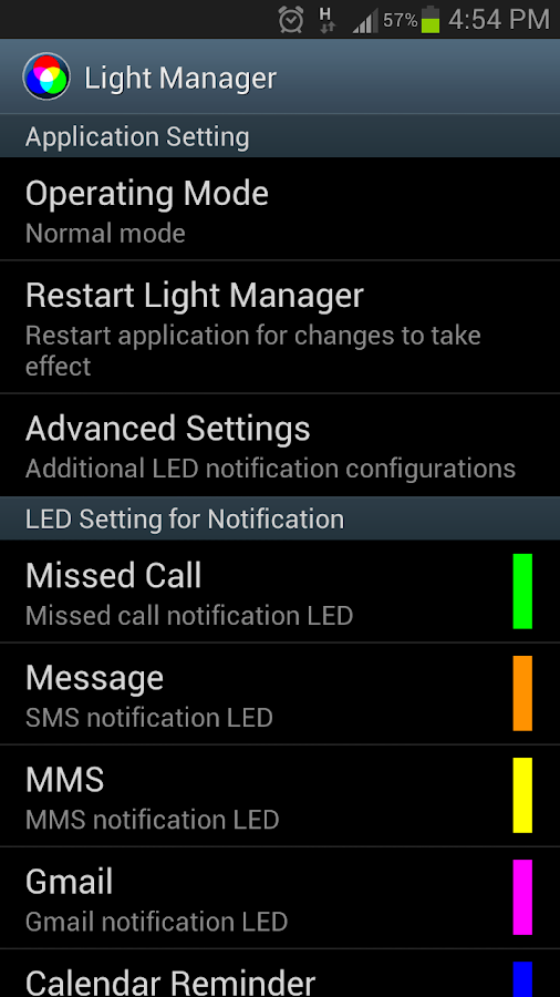 Light Manager - LED Settings - screenshot