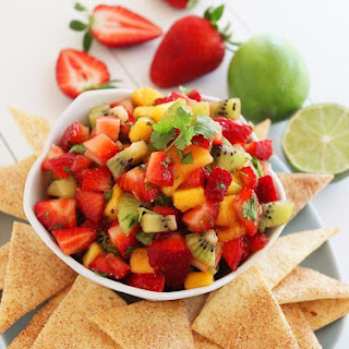 Strawberry Mango Salsa with Cinnamon-Sugar Tortilla Chips