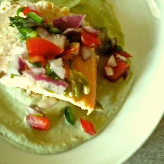 Salmon on Avocado Cream with Salsa Fresca