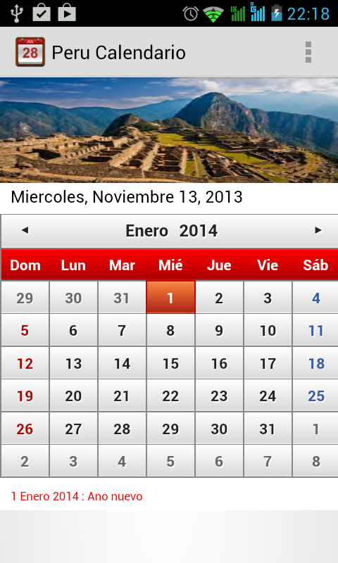 Peru Calendario 2014 - screenshot