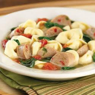 Sweet Italian Chicken Sausage and Tortellini Soup.