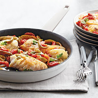 Sautéed Cod with Tomatoes, Piquillos, and Olives