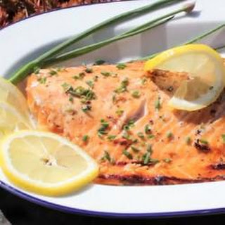 Barbecued Salmon With Soy And Brown Sugar Marinade.