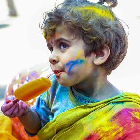 by Suman Nag - Babies & Children Child Portraits ( child, colour, india, festival, candid, holi, people, portrait )
