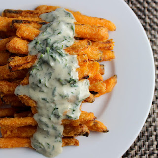 Sweet Potato Fries with Blue Cheese Sauce